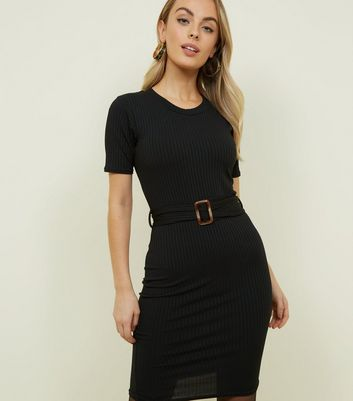Petite Black Ribbed Belted Midi Dress