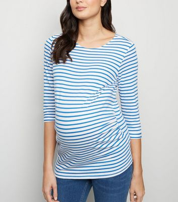 Maternity Blue Stripe 3/4 Sleeve Top