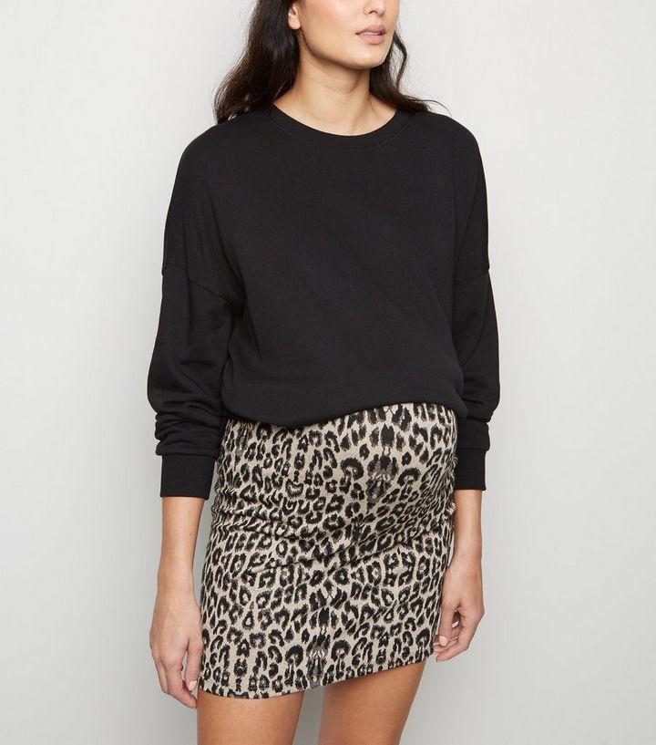 18faaac1b1f1b Maternity Black Leopard Print Tube Skirt | New Look