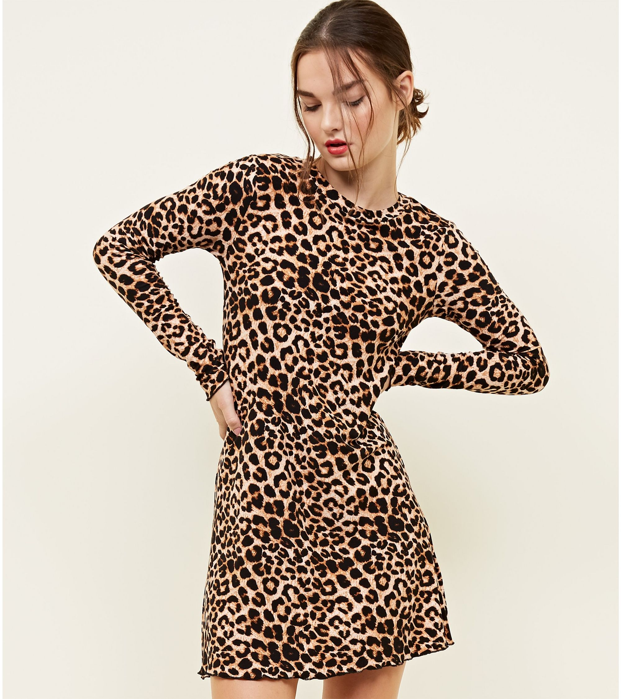 4d0600af16 New Look petite leopard print soft touch mini dress at £8