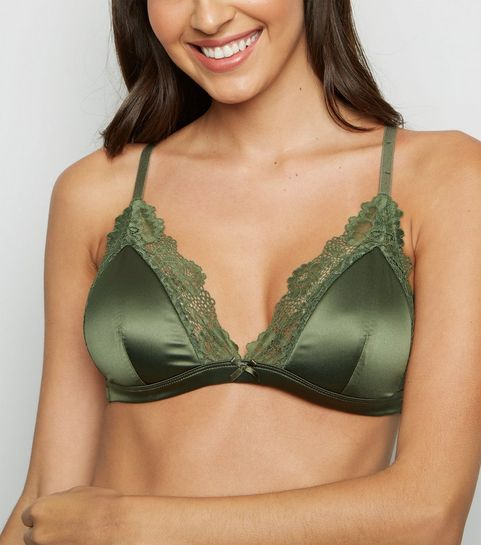 f8c0e449b ... Khaki Satin Padded Triangle Bra ...