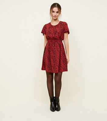 Petite Red Leopard Print Shirred Waist Dress