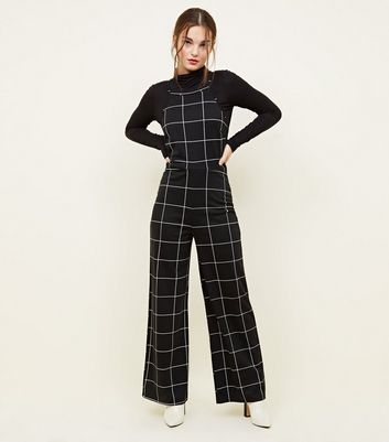 Petite Black Grid Check High Neck Jumpsuit