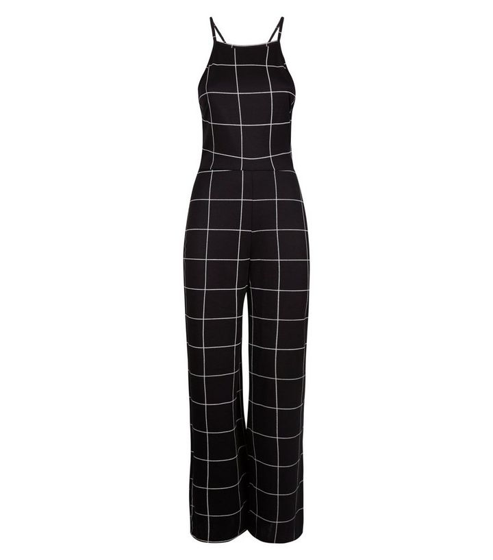 db849ea14565 Petite Black Grid Check High Neck Jumpsuit