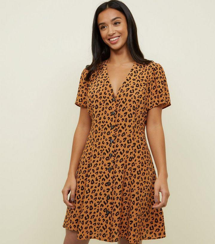 8d1146b485 Petite Brown Leopard Print Button Front Dress
