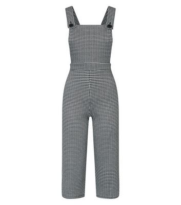 Petite Black Houndstooth Check Jersey Dungarees New Look