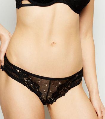 Black Floral Lace Strappy Briefs