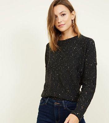 Black Fine Knit Gold Sequin Boxy Top