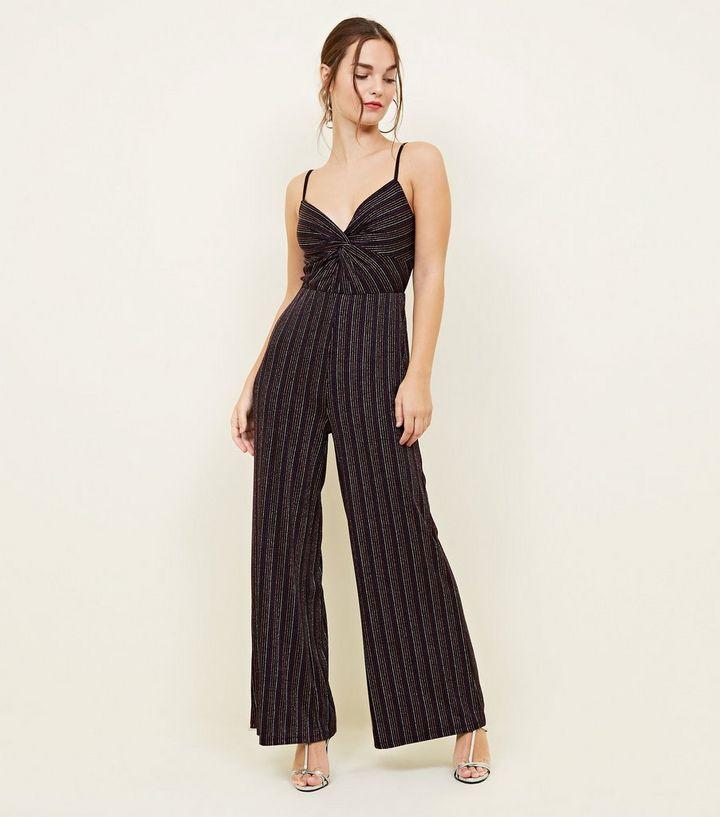 903afb04153 Petite Black Glitter Stripe Jumpsuit