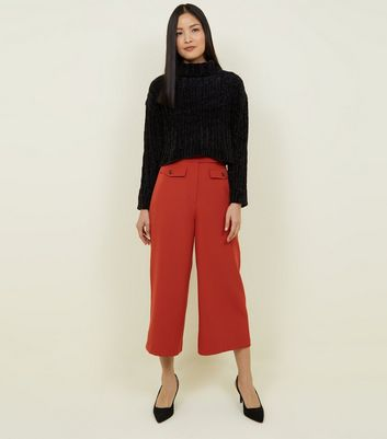 Rust Button Front Wide Leg Cropped Trousers