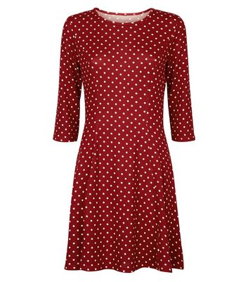 Blue Vanilla Burgundy Spot Print Dress New Look