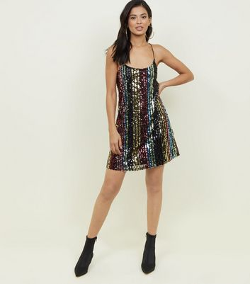 Blue Vanilla Rainbow Sequin Stripe Slip Dress