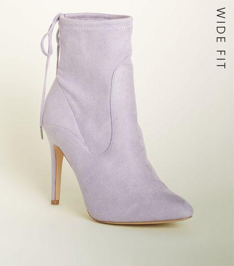 aadb6c5bc62 ... Wide Fit Lilac Stiletto Sock Boots ...
