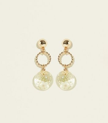 Gold Trapped Flower Ring Drop Earrings