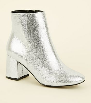 Wide Fit Silver Flared Heel Ankle Boots