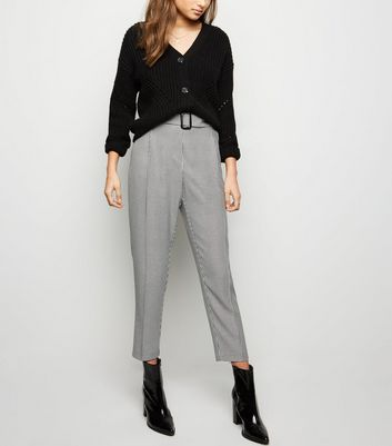 Black Houndstooth Check Belted Trousers