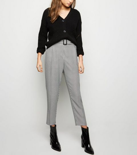 740df0fe5e411 Black Houndstooth Check Belted Trousers · Black Houndstooth Check Belted  Trousers ...