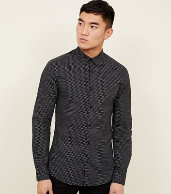 Black Long Sleeve Polka Dot Spot Muscle Fit Shirt