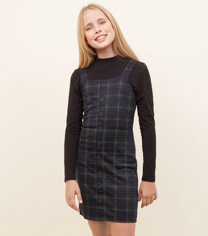5918159d280e Girls Blue Check Pinafore Dress | New Look