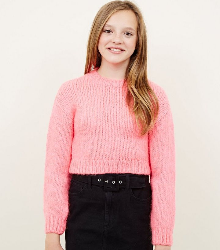 6fc6c01de0dc Girls Neon Pink Chunky Knit Jumper   New Look