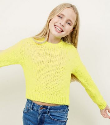 Girls Neon Yellow Chunky Knit Jumper