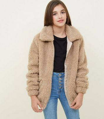 Girls Stone Oversized Teddy Borg Jacket