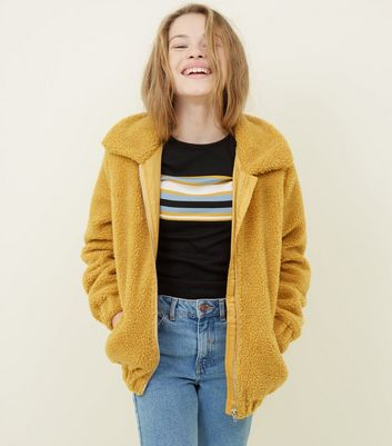 Girls Mustard Oversized Teddy Borg Jacket