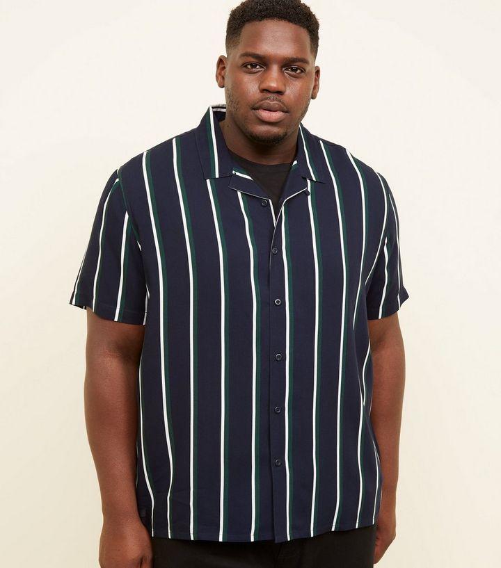 8d7cdf49 Plus Size Navy Revere Collar Green Stripe Shirt   New Look