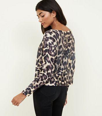 Cameo Rose Brown Leopard Print Fine Knit Jumper New Look