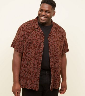 Plus Size Rust Leopard Print Short Sleeve Shirt