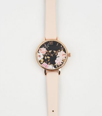 Pale Pink Floral Glitter Face Watch
