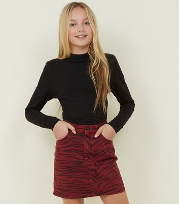 Girls Burgundy Zebra Print Denim Skirt