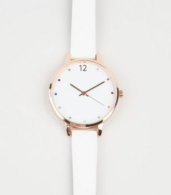 White Rainbow Gem Analogue Watch