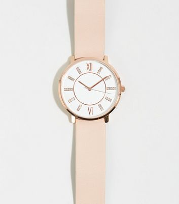 Pink Leather-Look Strap Diamanté Analogue Watch