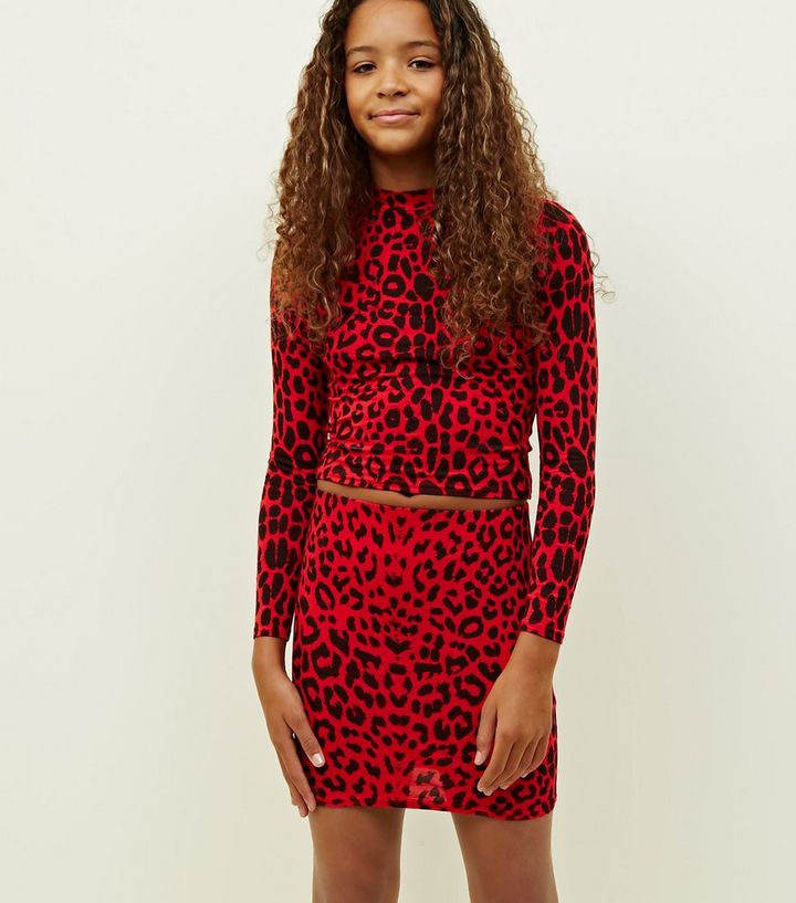f043c943ff Girls Red Leopard Print Tube Skirt   New Look