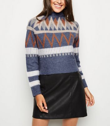 Blue Fluffy Aztec Funnel Neck Jumper