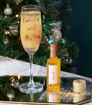 Clear Bubble and Bellini Slogan Prosecco Glass Set