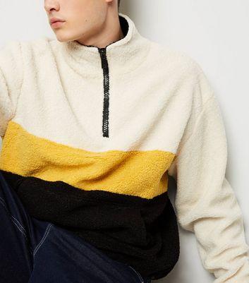 shop for Men's Black Colour Block Borg 1/2 Zip Jacket New Look at Shopo