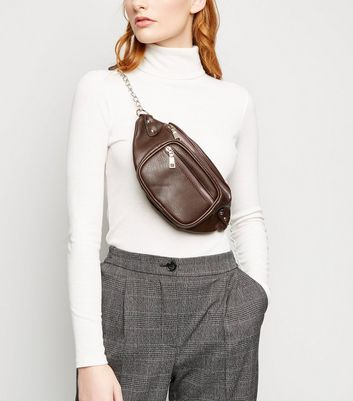 Brown Chain Strap Vintage-Style Bum Bag