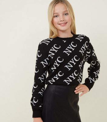 Girls Black NYC Knitted Jumper