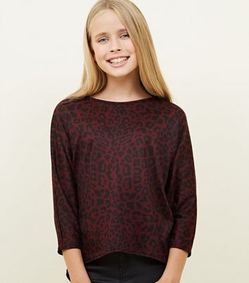 Girls Red Leopard Print Fine Knit Top