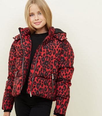 Girls Red Leopard Print Puffer Jacket