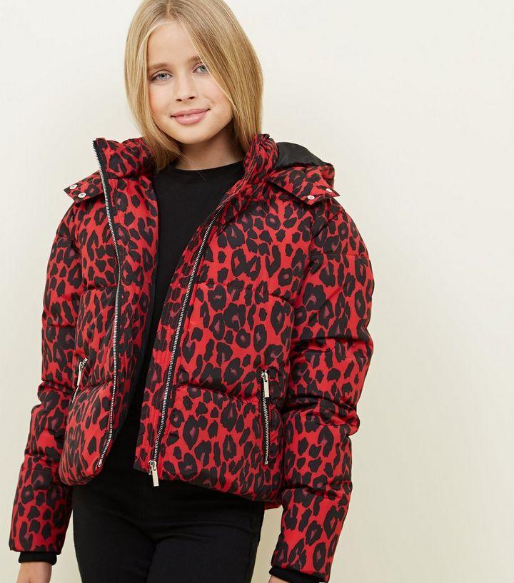 e8062a513b61 Girls Red Leopard Print Puffer Jacket   New Look