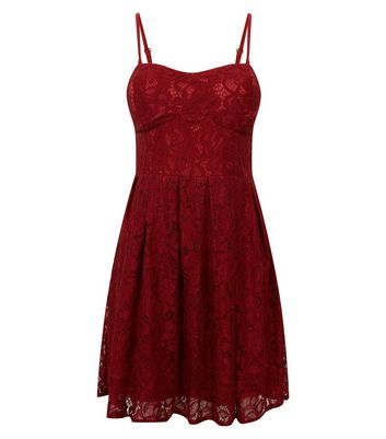 Cameo Rose Burgundy Lace Bustier Dress New Look