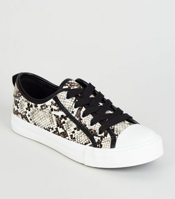 Girls Black Faux Snake Lace Up Trainers