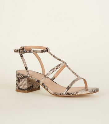 Girls Tan Faux Snake Block Heel Sandals