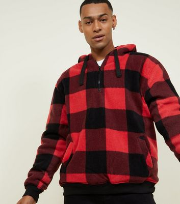 Red Zip Front Check Borg Jacket