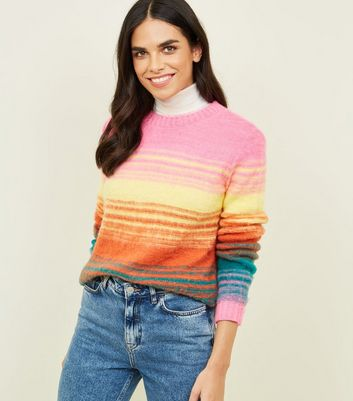 Pink Space Dye Stripe Brushed Jumper