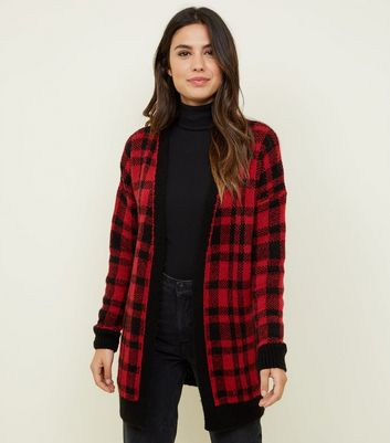 Red and Black Check Longline Cardigan