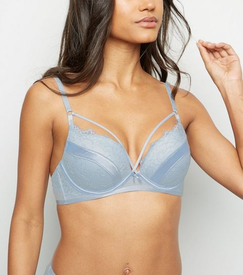 a1147c697530b ... Pale Blue Floral Eyelash Lace Strappy Push-Up Bra ...